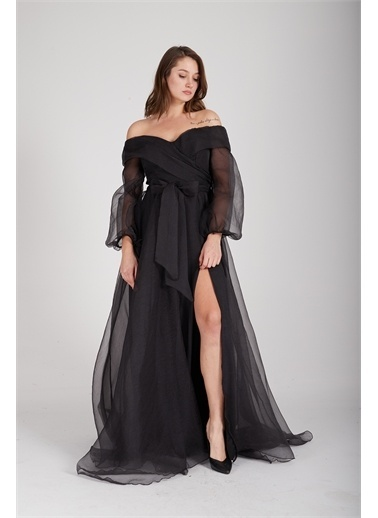 Belamore  Siyah Kayık Yaka Yırtmaçlı Abiye & Meznuiyet Elbisesi 1301583.01 Siyah